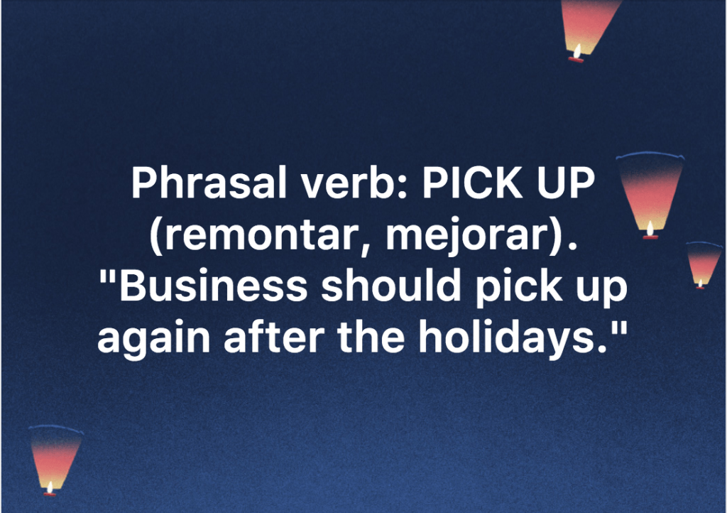 phrasal verb pick up inglés